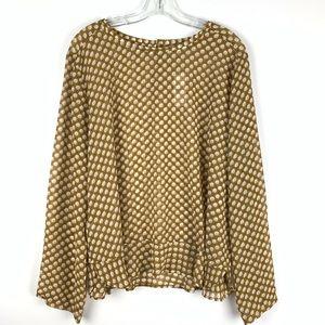 Ann Taylor Loft sheer long sleeve blouse